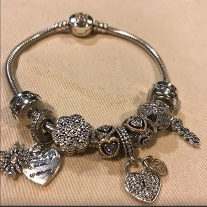 Pandora bracelet silver and 14k gold accents